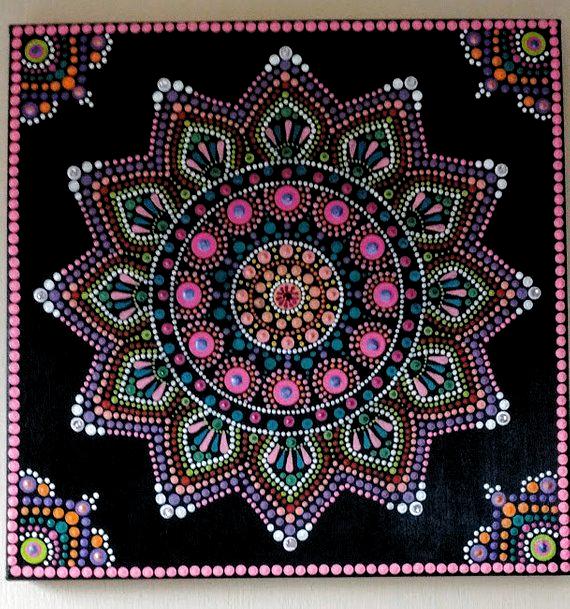 Karneval Mandala Malerei Auf Ein 12 X 12 Zoll Leinwand Ein Aufstand Der Farben Karneval Mandala Mandala Art Lesson Mandala Design Art Dot Art Painting