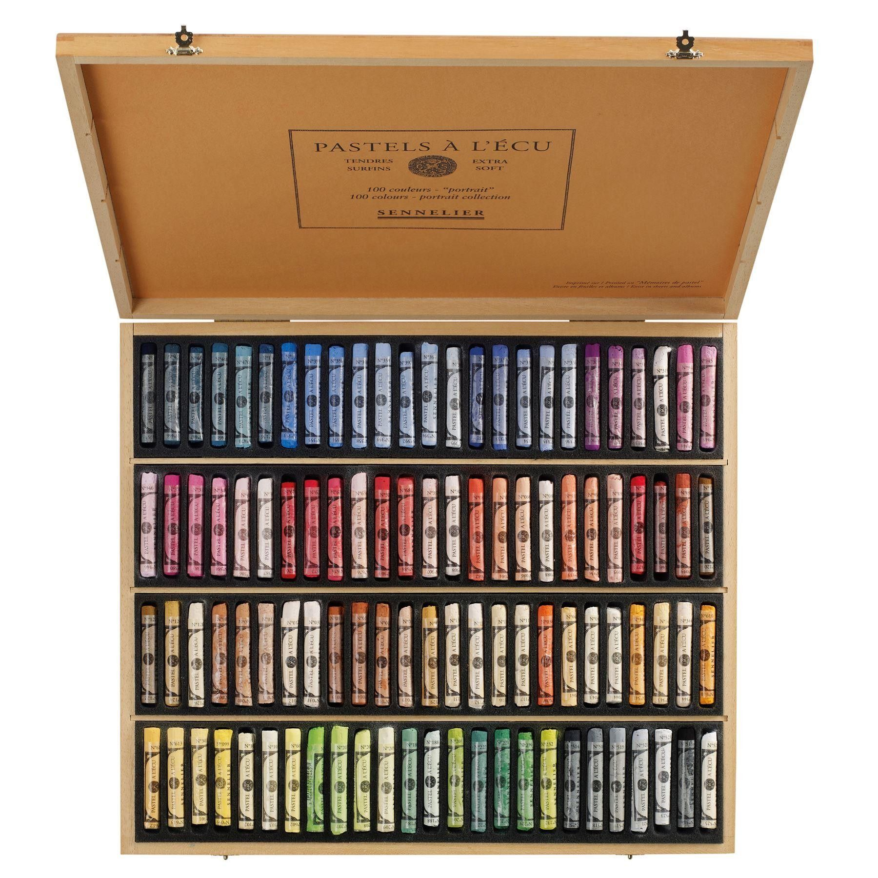 Sennelier Soft Pastels Portrait Set Wooden Box 100 Sticks Pastels Pencils Charcoal Soft Pastel Pastel Portraits Sennelier