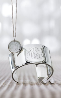 Monogrammed Sterling Silver Jewelry.