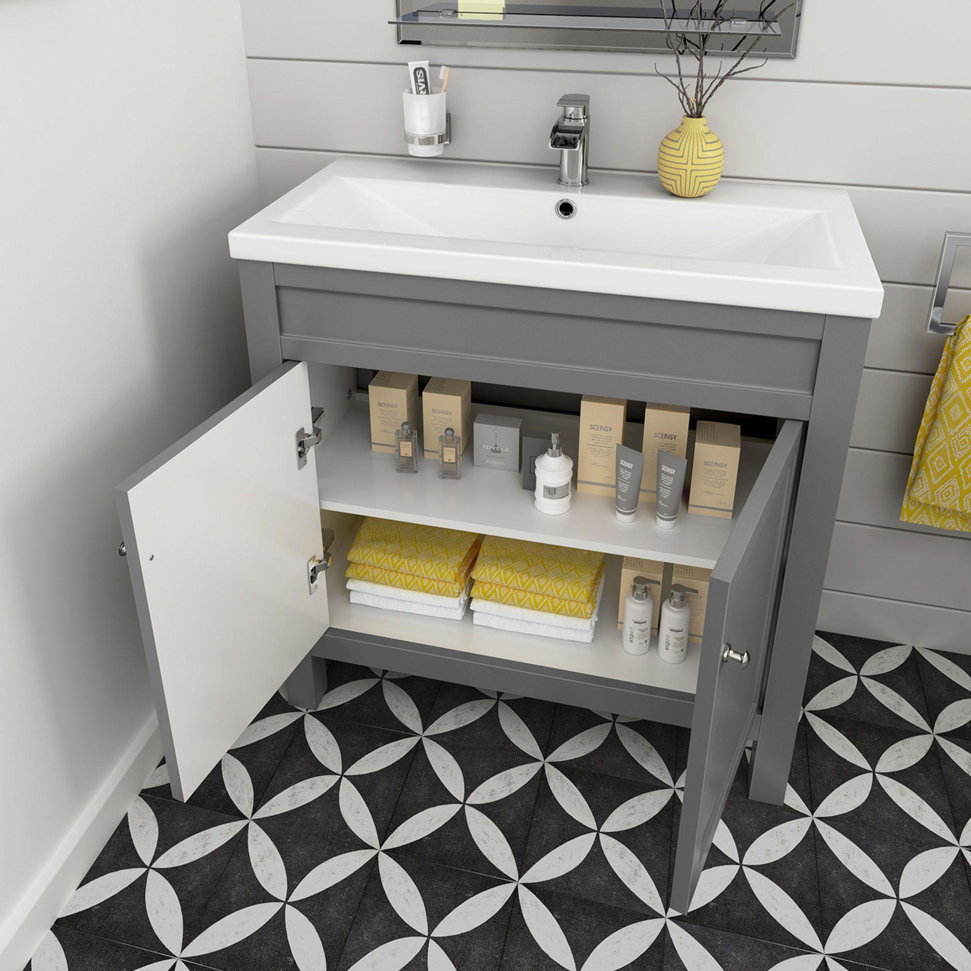 800mm Melbourne Earl Grey Double Door Vanity Unit Floor Standing Soak Com Grey Vanity Unit Bathroom Vanity Units Traditional Bathroom Cabinets