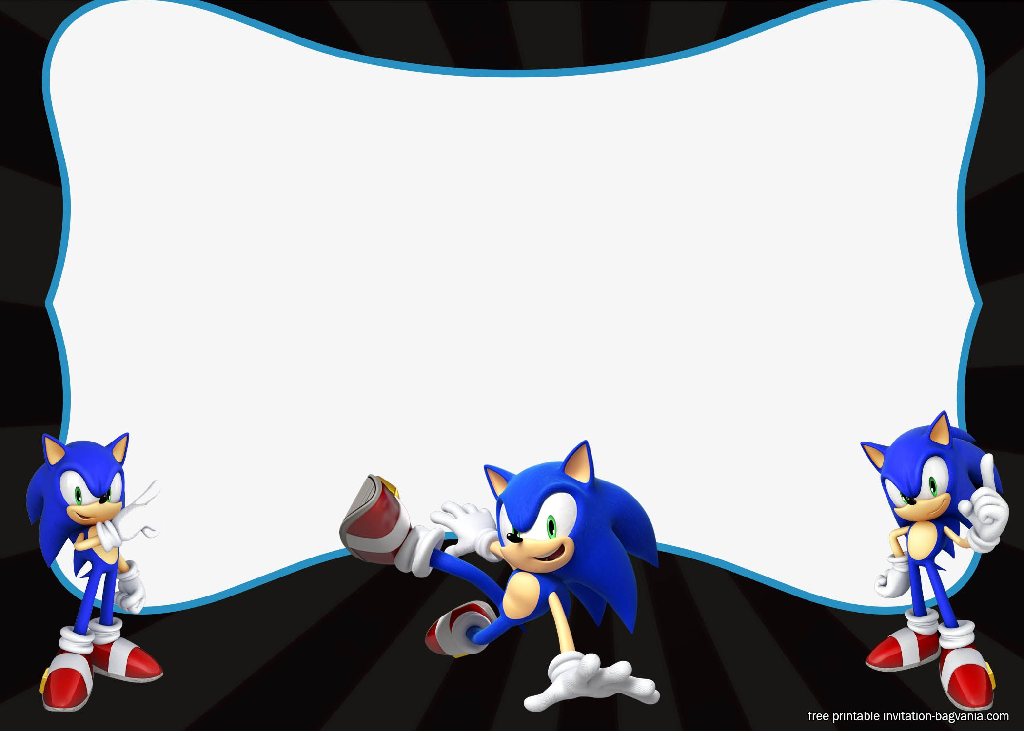 Free FREE Sonic The Hedgehog Invitation Templates