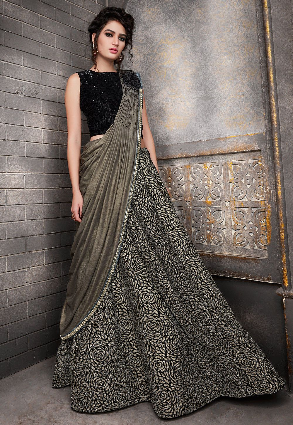 35e6a76e23 Buy Embroidered Lycra Circular Lehenga in Black and Beige online, Item  code: LXW366, Color: Black, Beige, Occasion: Party, Wedding, Work:  Contemporary, ...