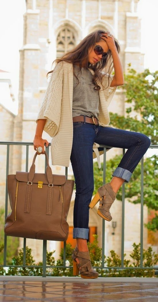 Shop this look for $95:  http://lookastic.com/women/looks/crew-neck-t-shirt-and-shawl-cardigan-and-belt-and-skinny-jeans-and-tote-bag-and-ankle-boots/3821  — Grey Crew-neck T-shirt  — Beige Shawl Cardigan  — Brown Leather Belt  — Navy Skinny Jeans  — Brown Leather Tote Bag  — Brown Cutout Suede Ankle Boots