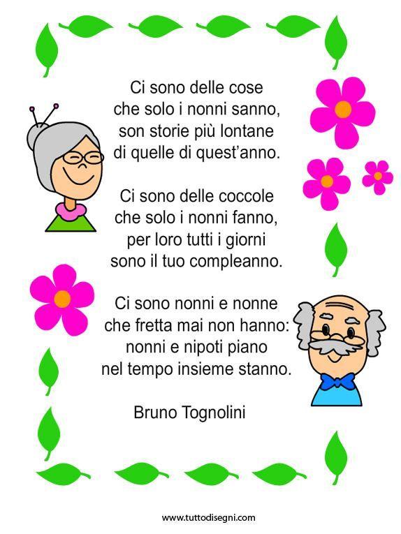 Risultati immagini per poesie dedicate ai nonni per bambini ...