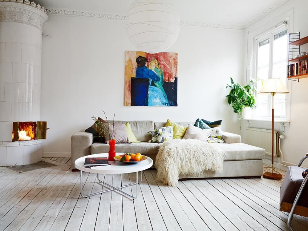 Painting Living Room White Living Room With Wooden Floor White Color Paint  Wall