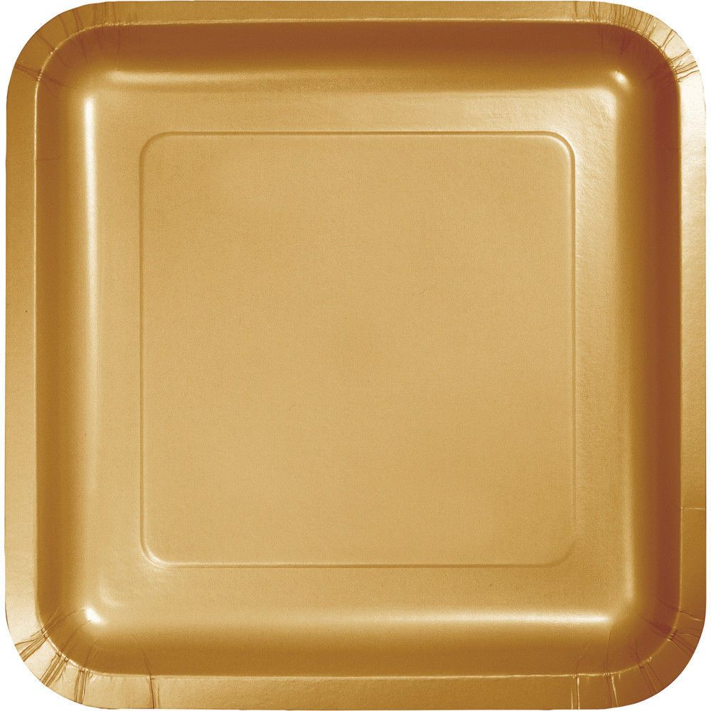 "18 Glitter Gold Wedding Birthday Party Tableware 9"" Square Paper Lunch Plates #CreativeConverting #BirthdayAdult $3.49"