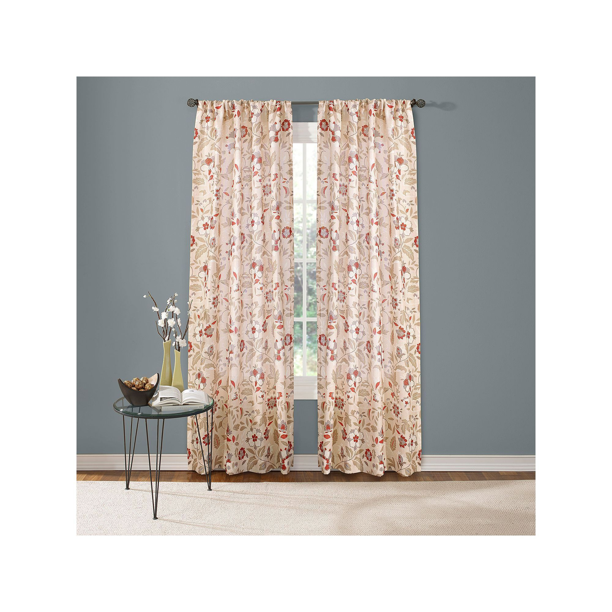 Custom Home Jacobean Floral Curtain, Red