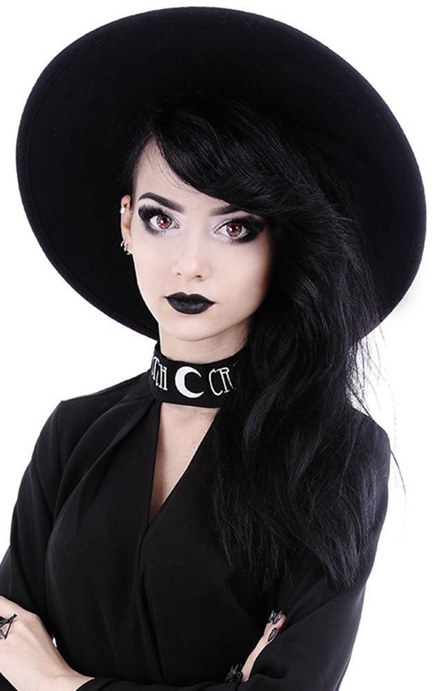 88b099dd776 Wide Brim Black Gothic Hat Witch Wide Brim Hat