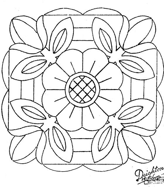 Mandala de tulipes would like as a quilt block Line Drawings
