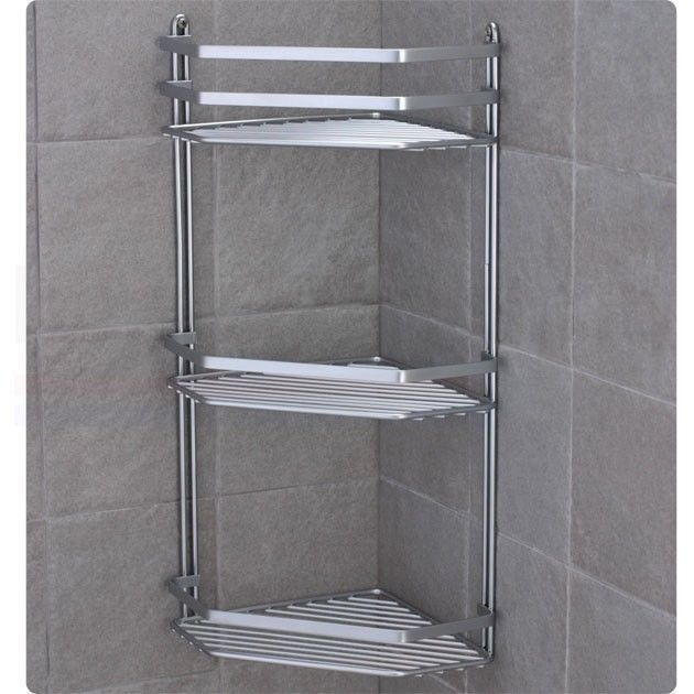 Chrome satina hanging rectangle corner shower caddy bathroom shelf ...