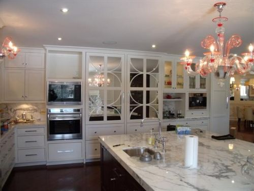 Custom Refrigerator Panels With Mirrored Back And Circle Mullions
