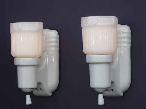 White Porcelain Bath Fixtures Vintage Bathroom Light Fixtures