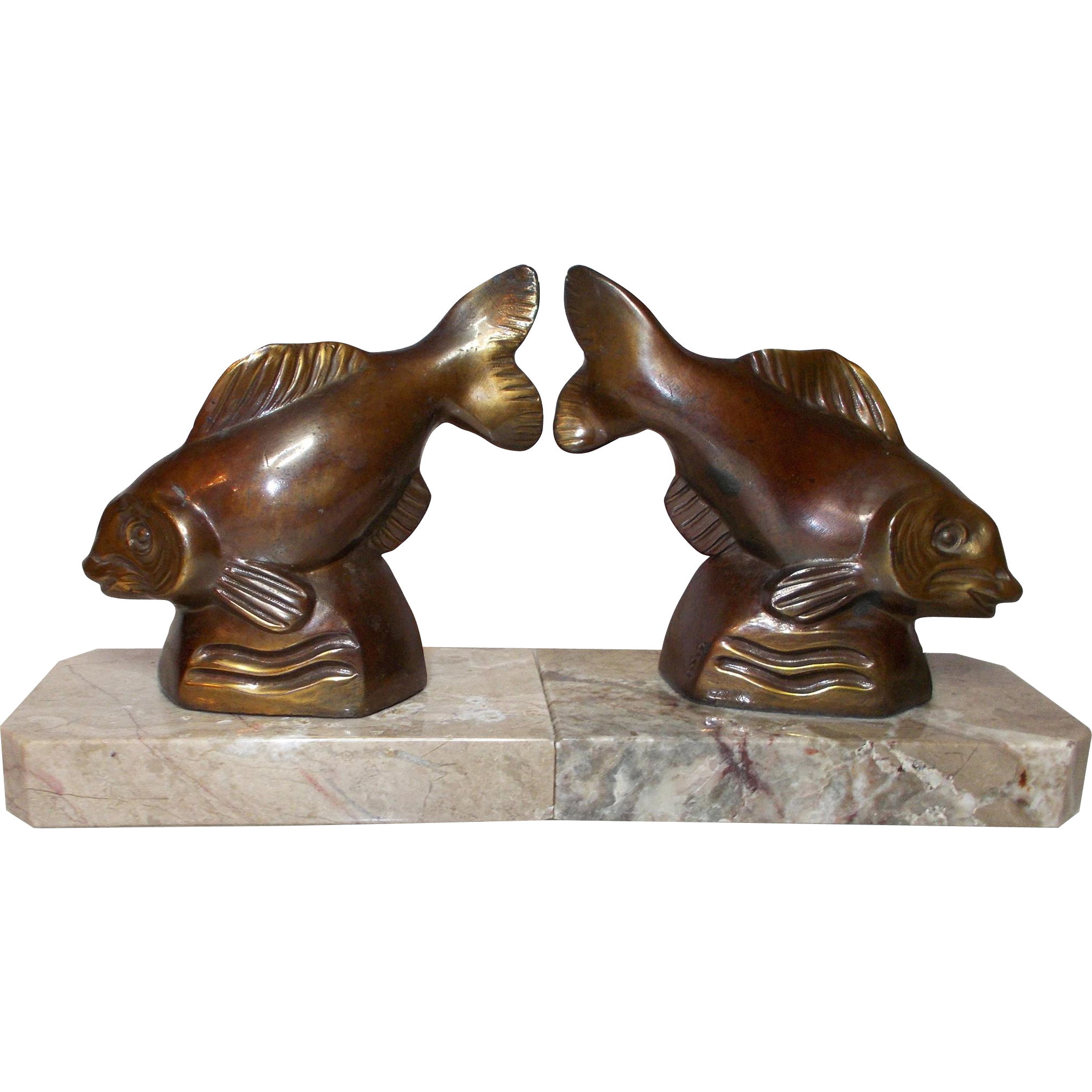 Fish bookends art deco bronzed spelter fish bookends art deco and