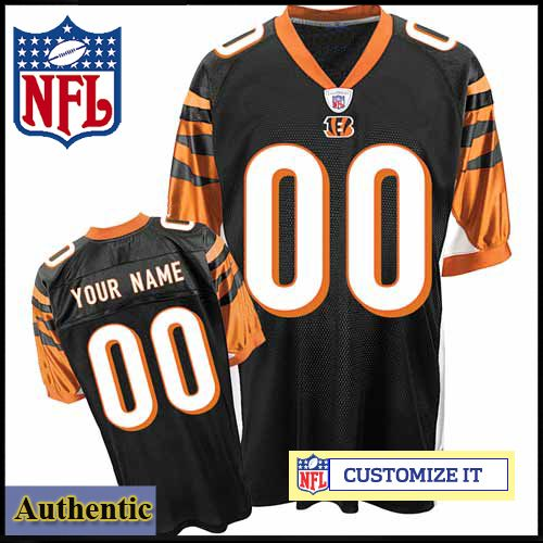 208d8596334 Cincinnati Bengals RBK Style Authentic Home Black Jersey (Pick A Player) - Custom  Made