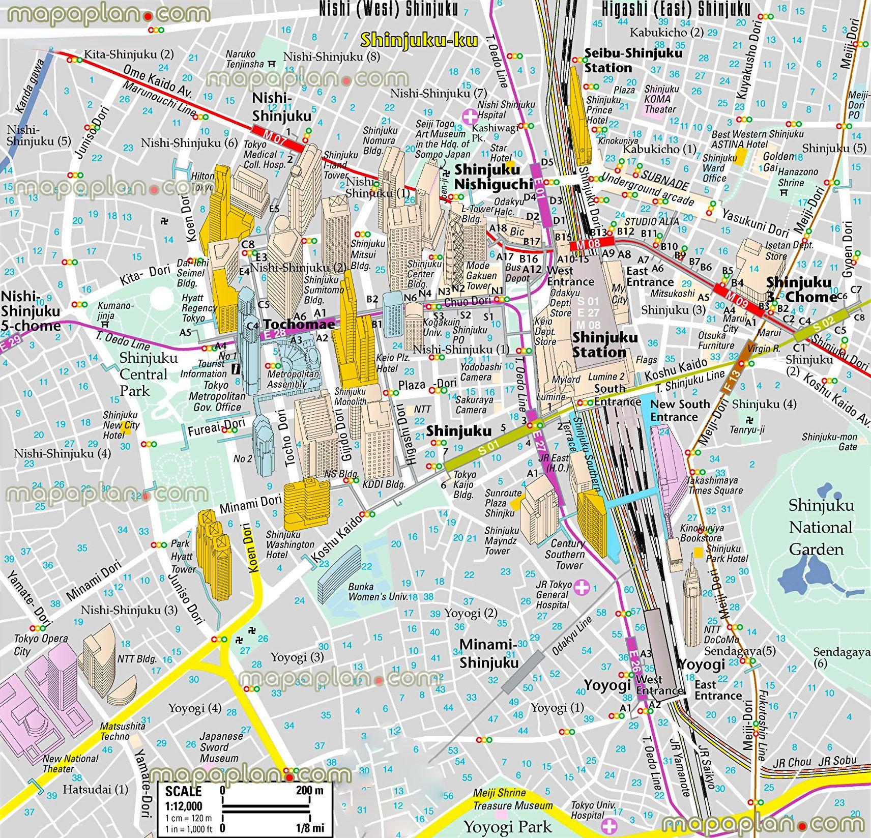 tokyotoptouristattractionsmap10shinjukudistrictmetrostation
