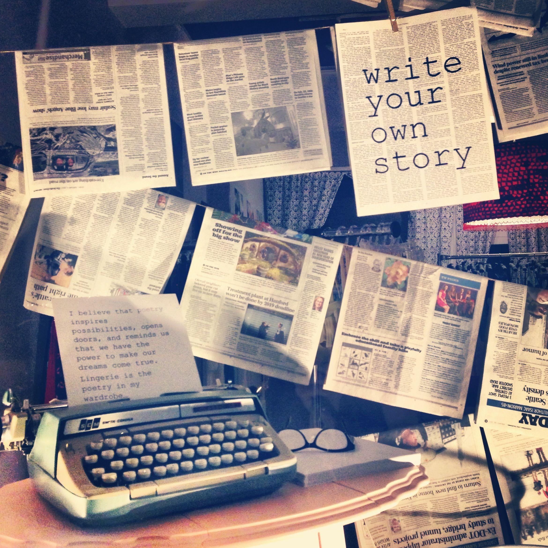 Write Your Own Story: Bellefleur Window 08/2013 #window #display #typewriter #newspapers
