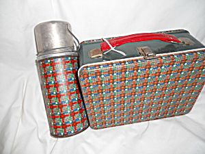 Lunchbox, Plaid w/Thermos,Metal. Click on the image for more information.