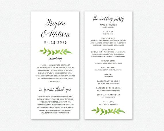 Wedding Program Editable Template | Program Printable, Ceremony ...