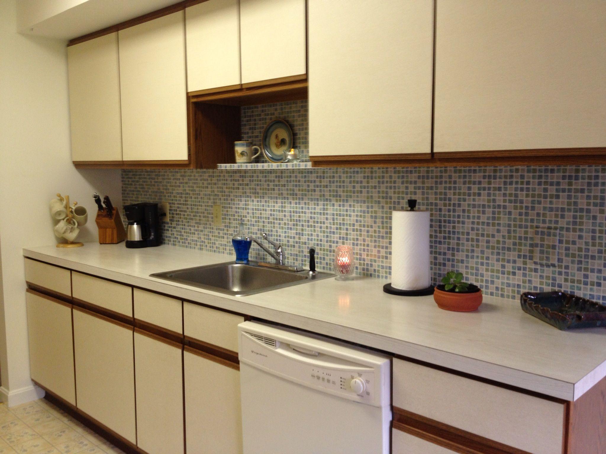 Faux tile wallpaper backsplash kitchen pinterest for Washable wallpaper backsplash