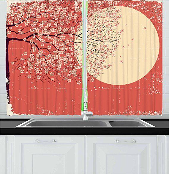 Ambesonne Spring Kitchen Curtains, Cherry Blossom Sakura