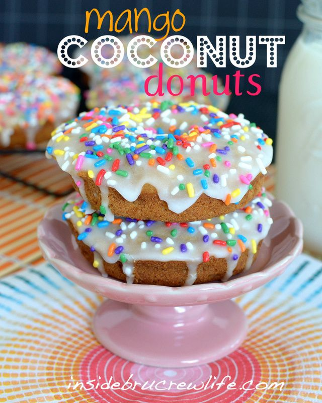 Mango Coconut Donuts to satisfy your fruit and donut cravings.  http://www.insidebrucrewlife.com  #mango #coconut #donuts
