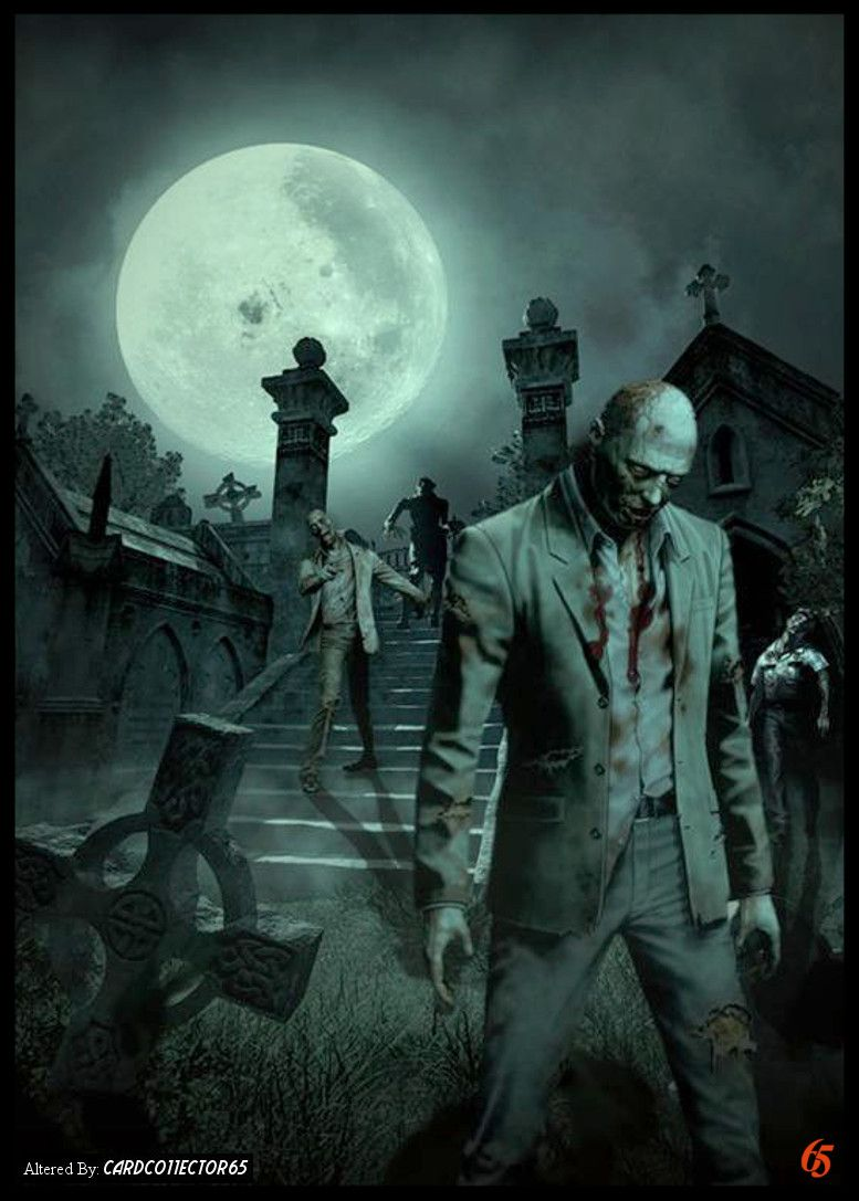 Zombie Cemetery - MTG - Sleeves  Zombie wallpaper, Scary