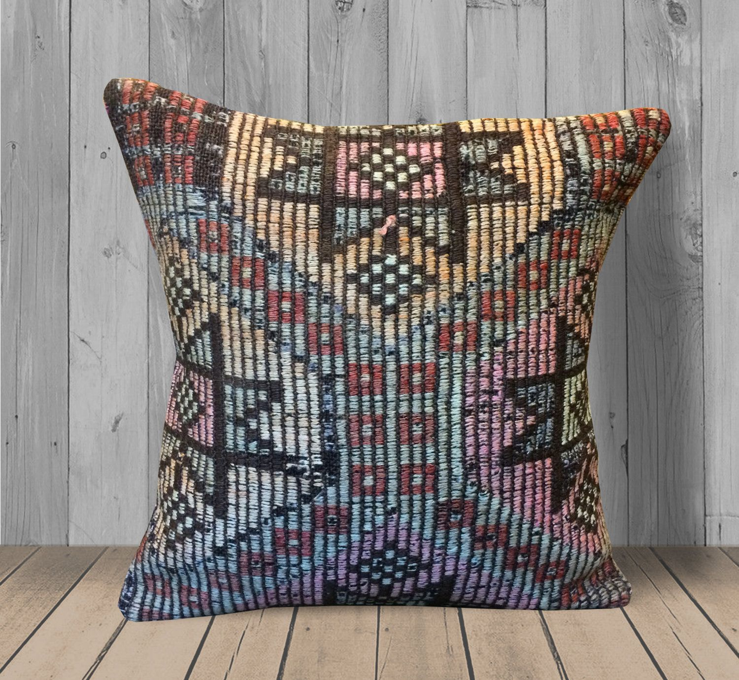 Gray Yellow Pink Kilim Pillows 16x16 Boho Throw Pillow Cover