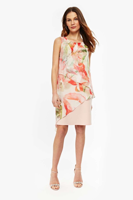 Blush Spring Floral Asymmetric Shift Dress | Dress wedding guests ...