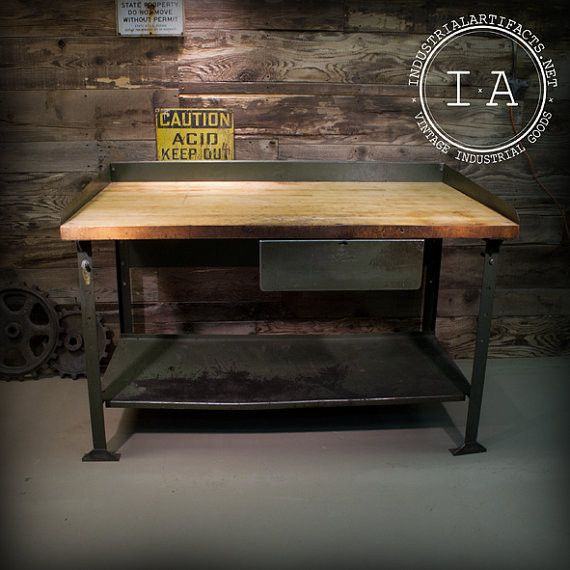 66 Best Antique Work Benches Images On Pinterest: Vintage Industrial Steel Frame Work Bench Table W