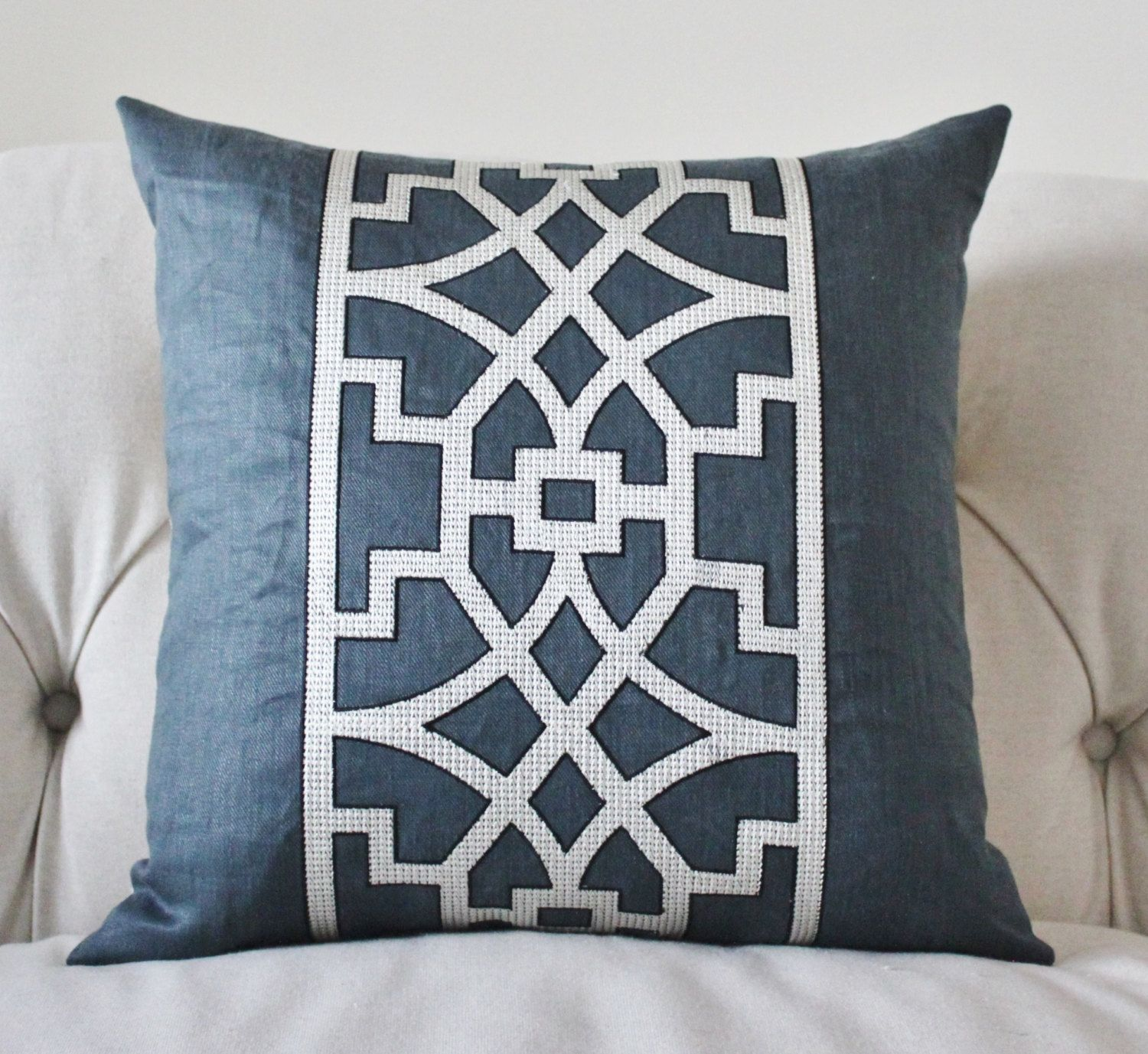 blue geometric pillow cover  mary mcdonald navy blue trellis  - blue geometric pillow cover mary mcdonald navy by motifpillows