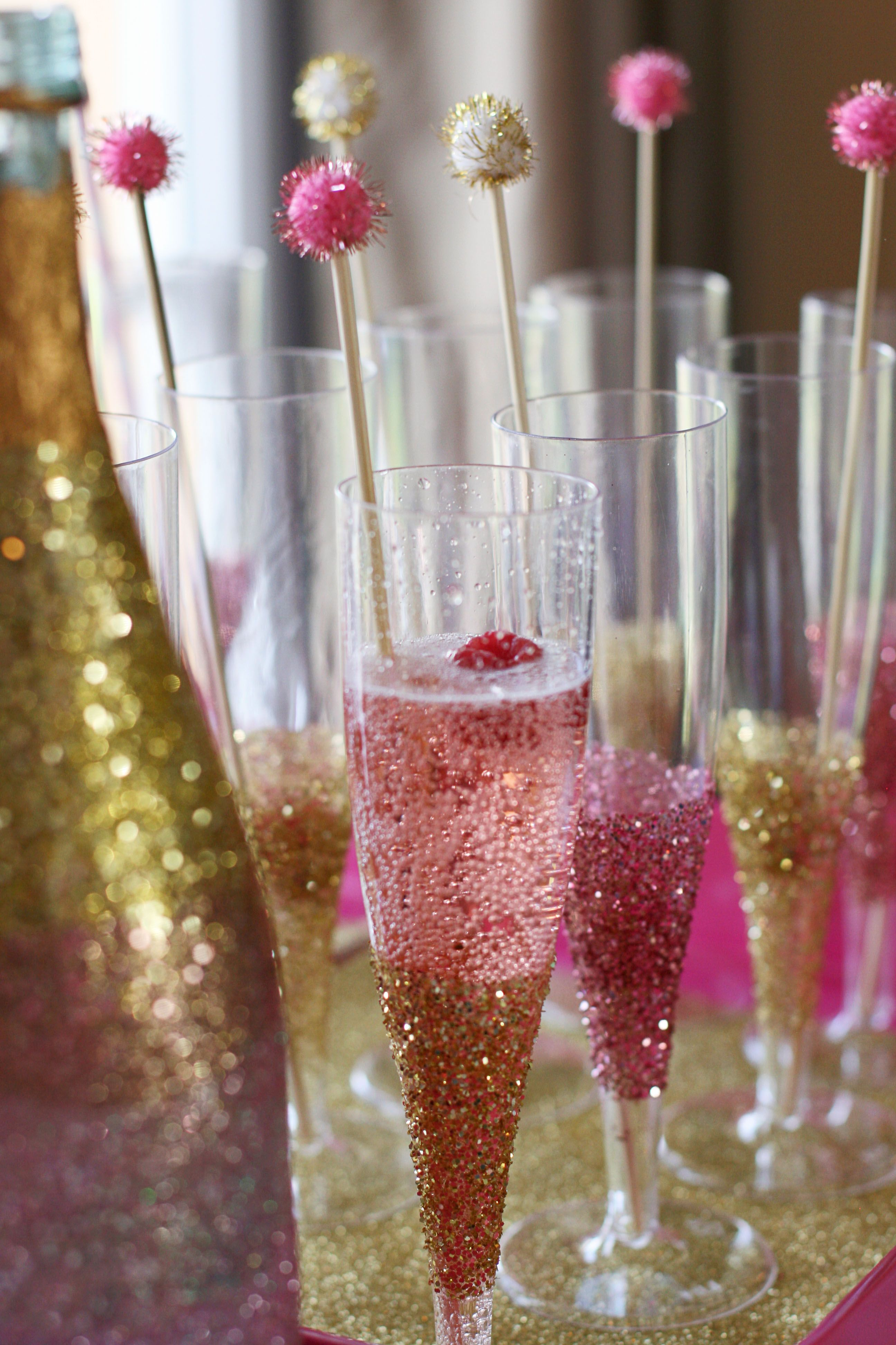 Ombre glittered champagne bottles glittered glasses and sparkly