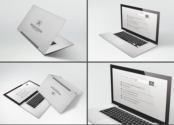 Laptop Folded Business Card Template Reference Cards Cartões - Folded business cards template