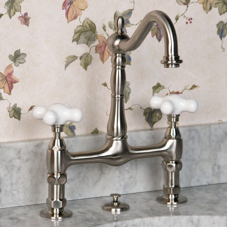 8 Bridge Bathroom Faucet  Large Porcelain Cross Handles