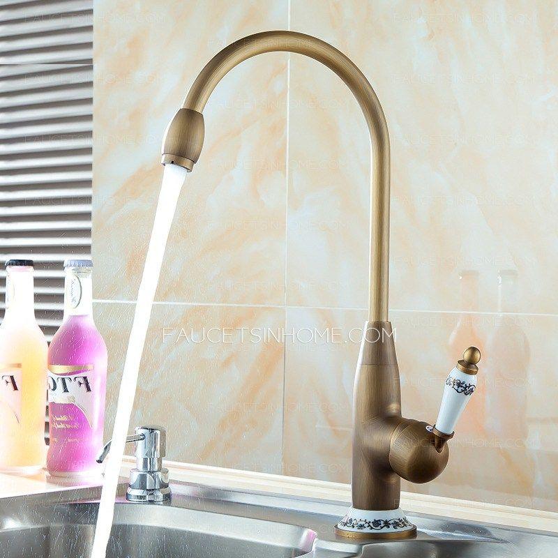 Designer High Arc Antique Brass Ceramic Kitchen Faucets Reviews