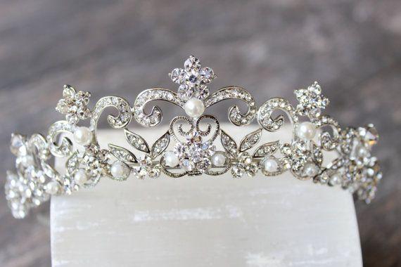 Victorian Scroll Crystal Bridal Tiara Edith Swarovski Crystal