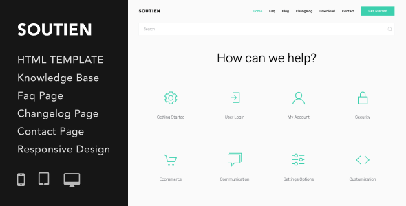 Soutien Customer Support Helpdesk Html Template Features Knowledge Base Page Faq Page Contact Page Changelog Page Down Web Design Responsive Design Design
