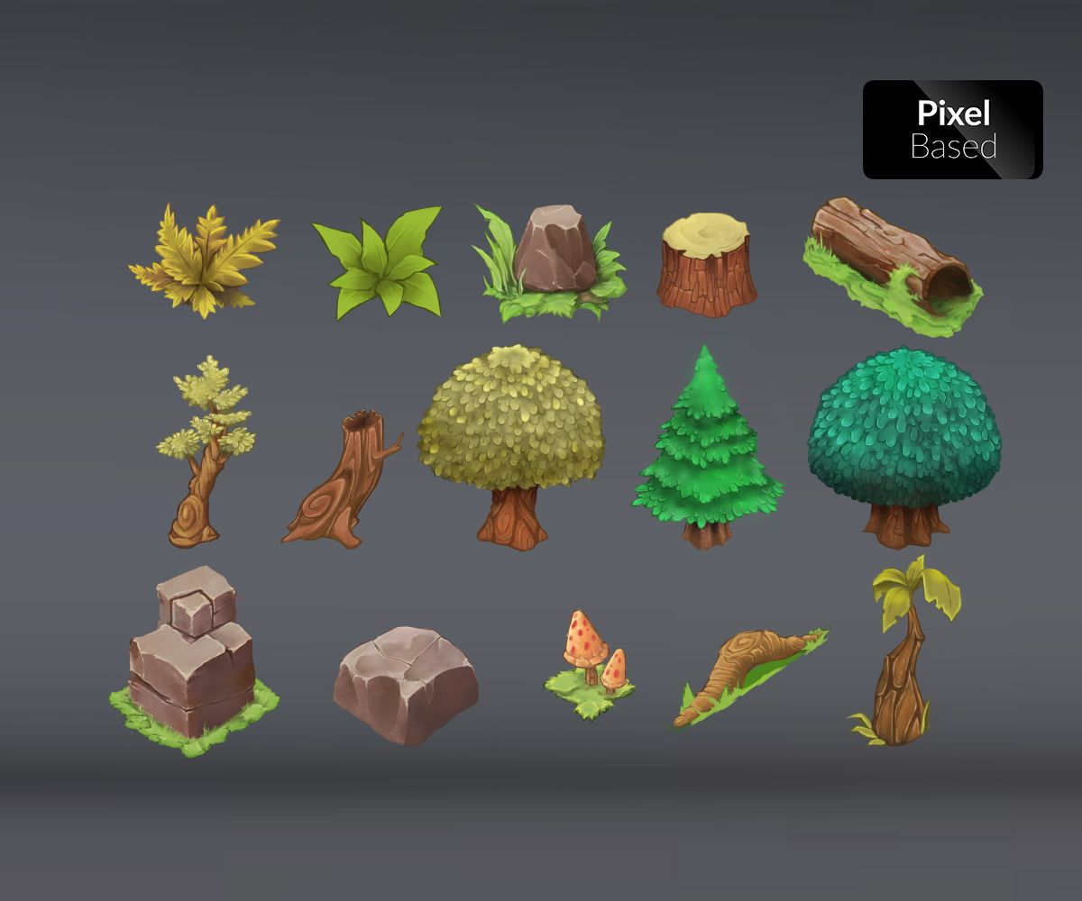 Isometric Game Art – Royalty Free Level Art | Foliage | Game