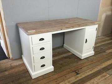 Landelijk wit bureau massief hout kantoor corner