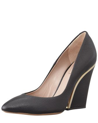 8c754c57e93 Golden-Heeled Leather Wedge Pump