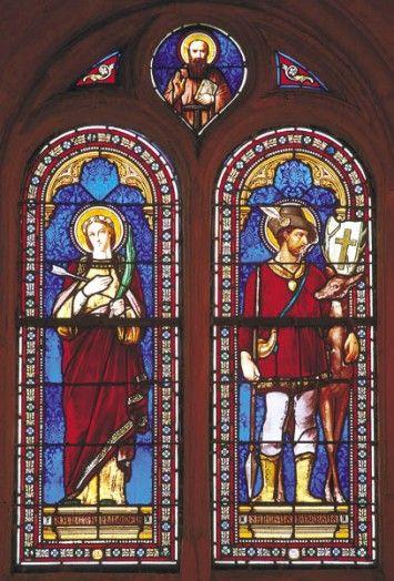 """""""Sainte Philomène stained glass window at Saint-Nicolas Church in MÉzières-sur-Seine, France."""