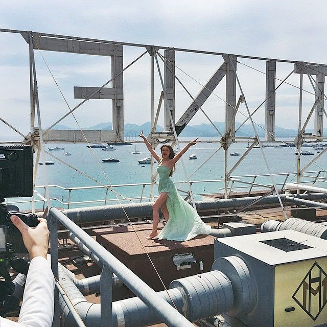 Crazy hectic day but wow, what a breathtaking project... Spent the day shooting a short video with @eliesaabworld on the roof of the Martinez before hitting my Montée Des Marches dressed up in one of their gowns!  #CannesFilmFestival2015 #ElieSaab