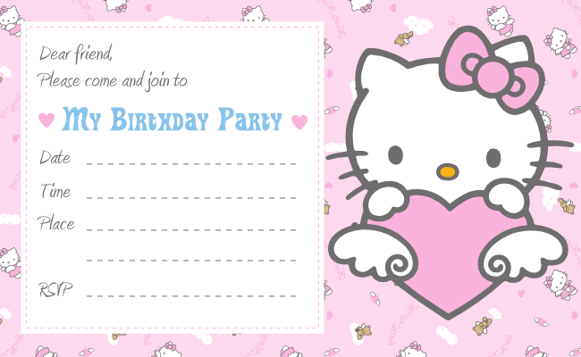 Printable Cute Hello Kitty Birthday Invitations
