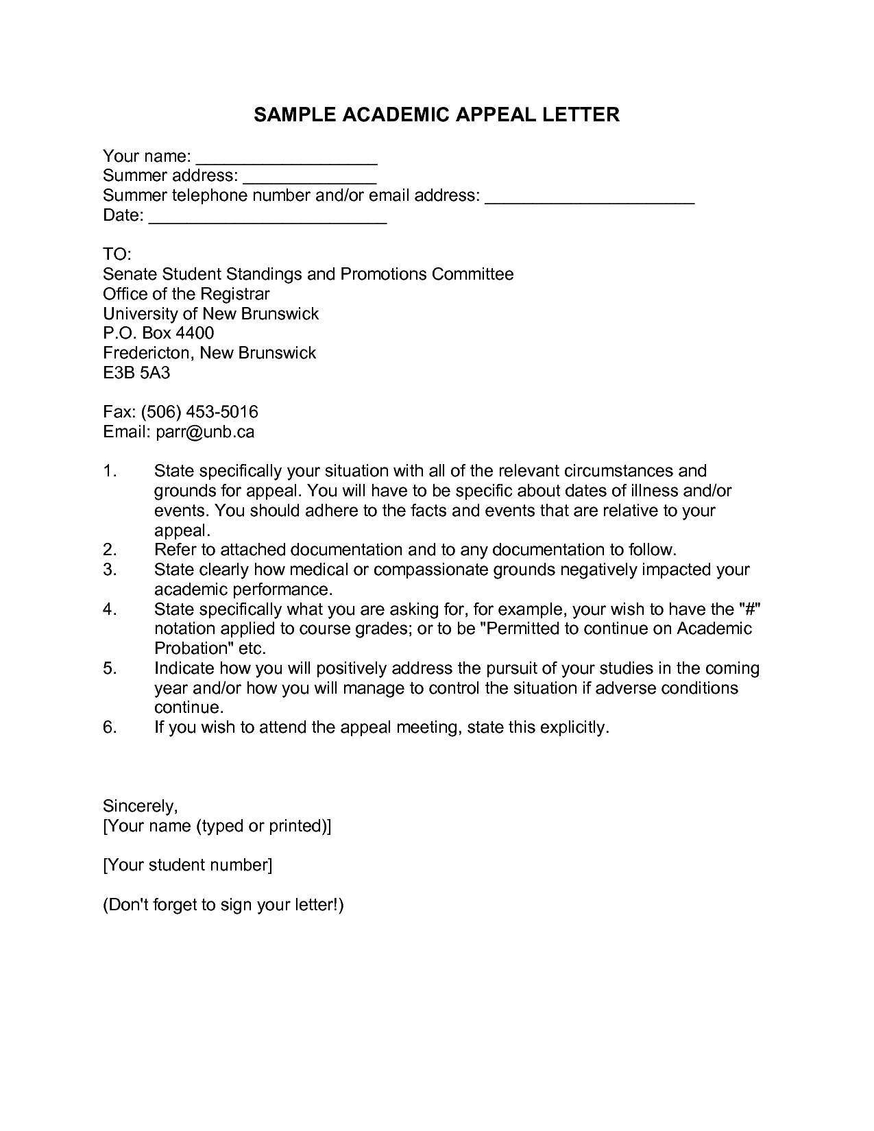 sample academic appeal letter format