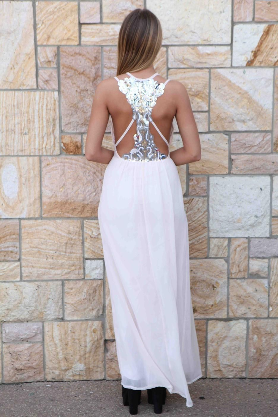 Light pink sequin maxi dress homecoming nye reception dress