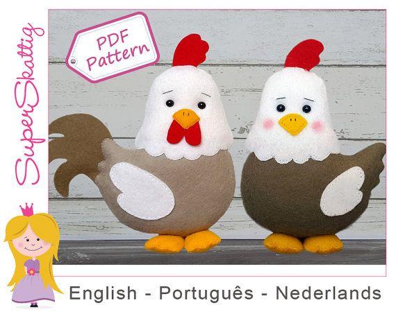 Felt Pattern Harry & Kiki, softie pattern, plush animal chicken and ...