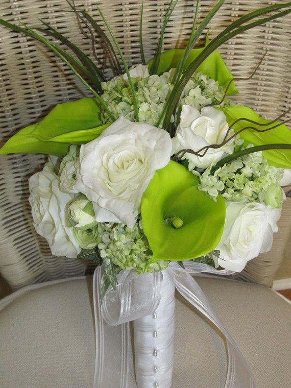 Bridal bouquet in green calla lillies and by MyFavorsandFlowers, $89.00
