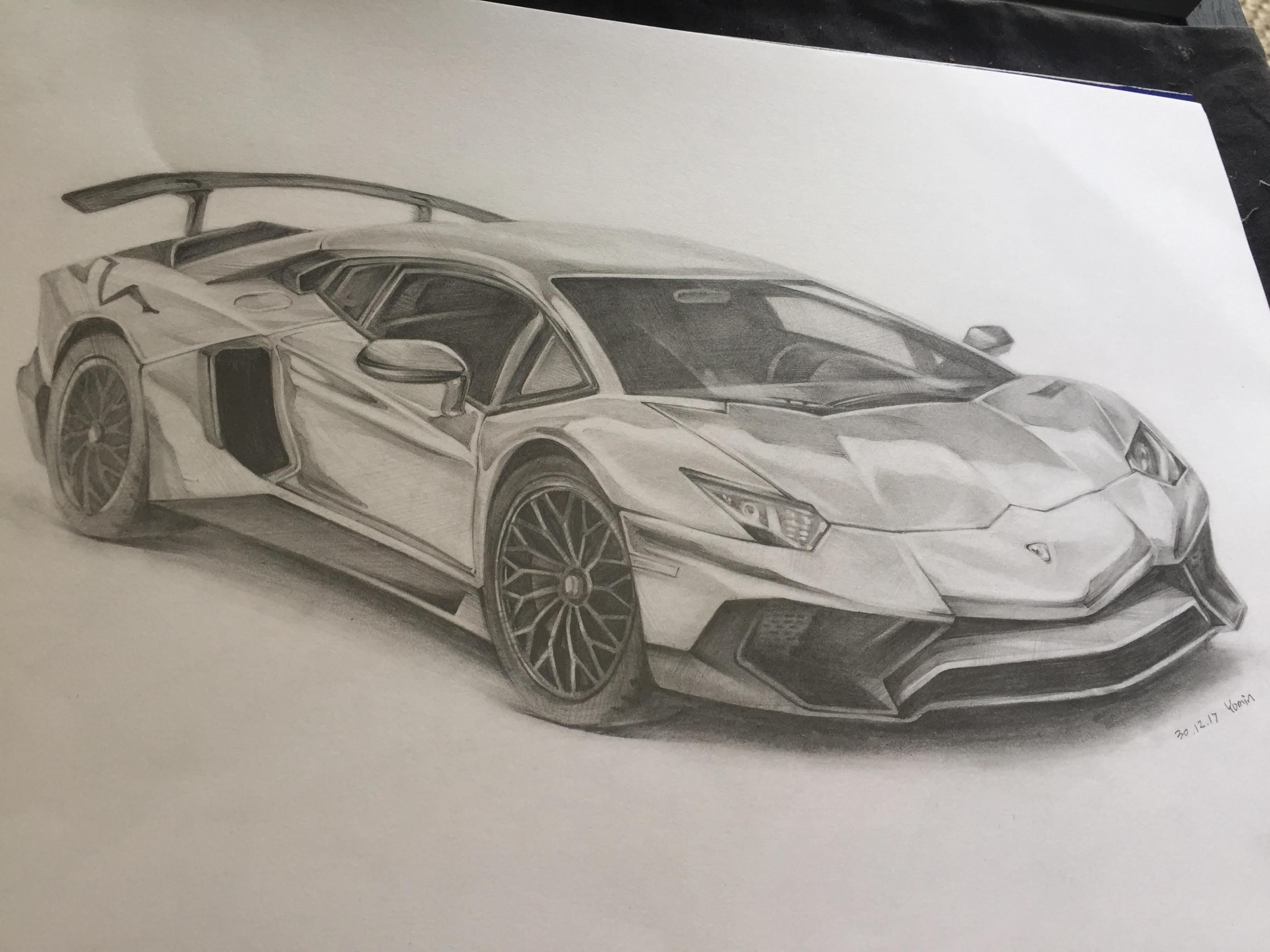 Pencil Drawing Of A Lamborghini Aventador (i.redd.it) Submitted By  Yumin_draws