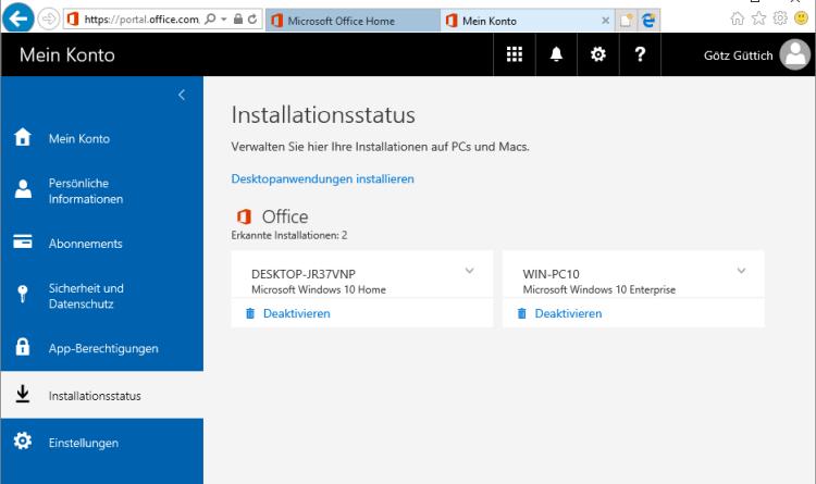 Wechsel des Office 365-Abonemments ohne Neuinstallation der Office Software