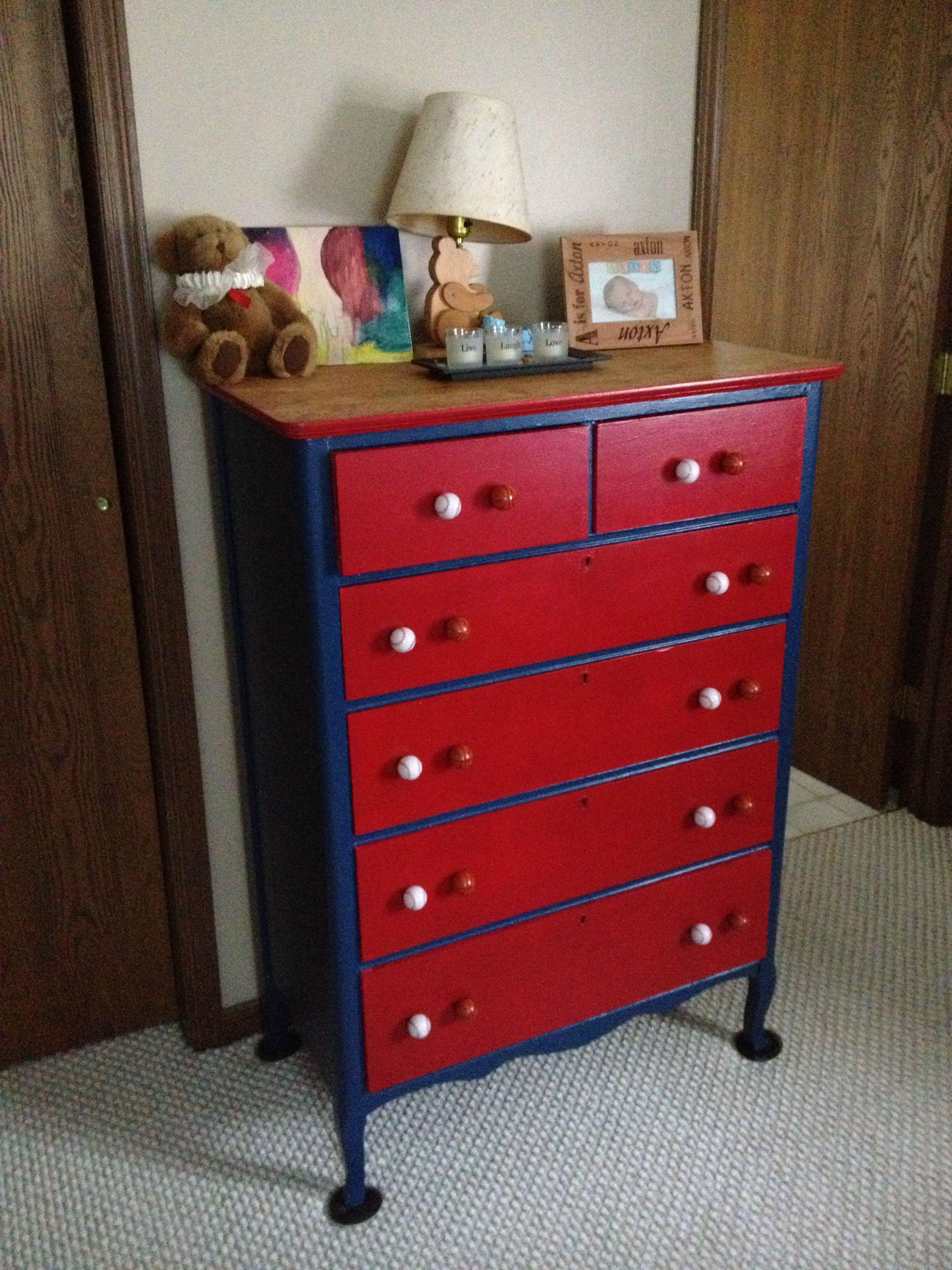 Refinished Dresser For A Sports Themed Bedroom Dresser