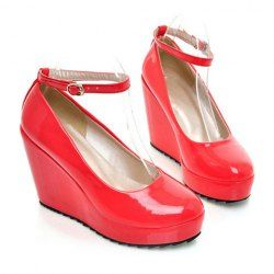 $17.98 Gorgeous PU Leather Buckle Design Solid Red Wedge Shoes For Women